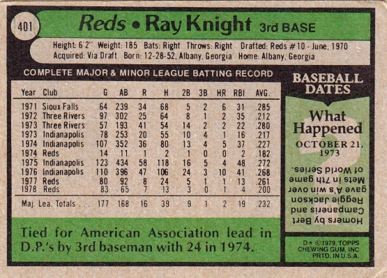Reds 1979 Topps Ray Knight B