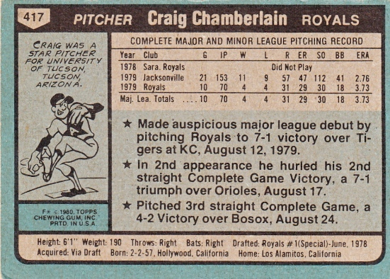 Craig Chamberlain Rookie Card