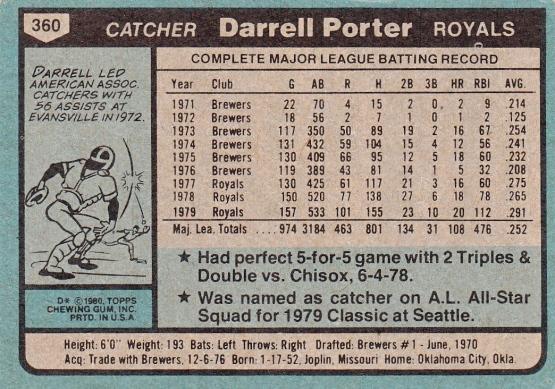 Royals 1980 Topps Darrell Porter B