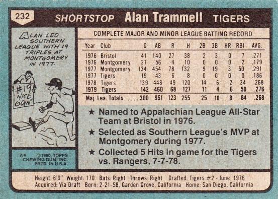Tigers 1980 Topps Alan Trammell B