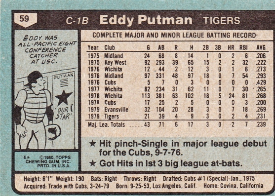 Eddy Putman Rookie Card