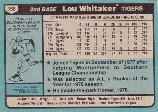 Tigers 1980 Topps Lou Whitaker B