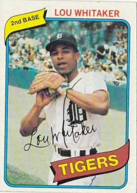 Tigers 1980 Topps Lou Whitaker F
