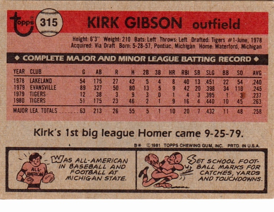Kirk Gibson Rookie Card