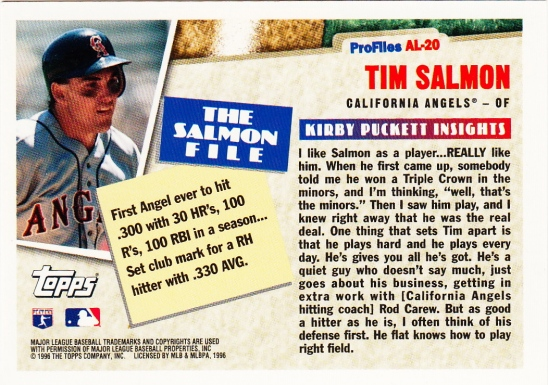 Tim Salmon Topps 1996 Profiles B