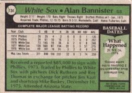 White Sox 1979 Topps Alan Bannister B