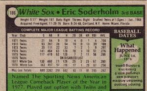 White Sox 1979 Topps Eric Soderholm B