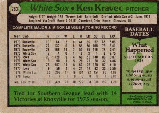 White Sox 1979 Topps Ken Kravec B