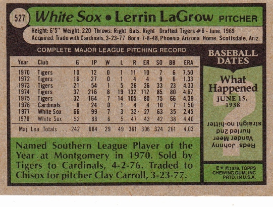 White Sox 1979 Topps Lerrin LaGrow B