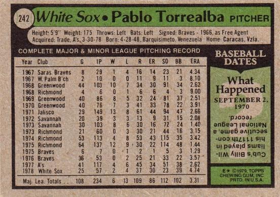 White Sox 1979 Topps Pablo Torrealba B