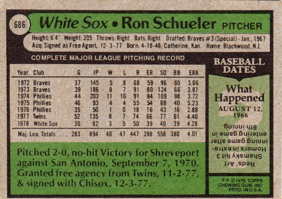 White Sox 1979 Topps Ron Schueler B