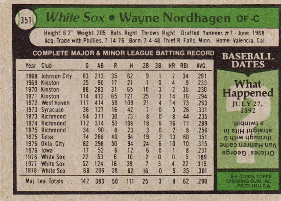 White Sox 1979 Topps Wayne Nordhagen B