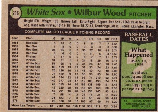White Sox 1979 Topps Wilbur Wood B