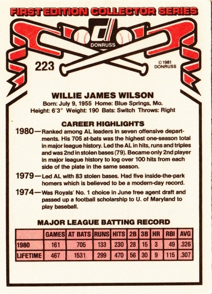 Willie Wilson Donruss 1981 B