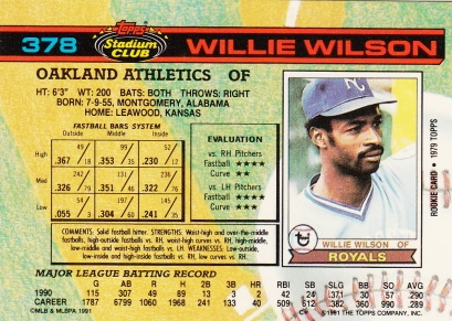 Willie Wilson Stadium Club 1991