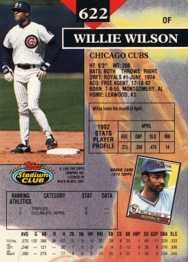Willie Wilson Stadium Club 1993