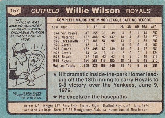 Willie Wilson Topps 1980 B