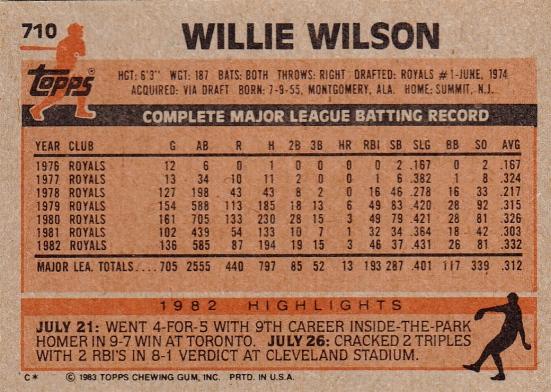 Willie Wilson Topps 1983 B