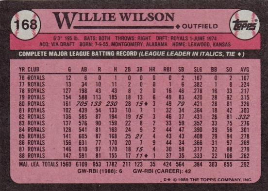 Willie Wilson Topps 1989 B