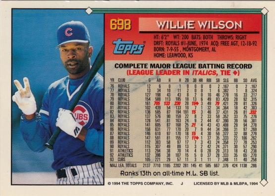 Willie Wilson Topps 1994 B
