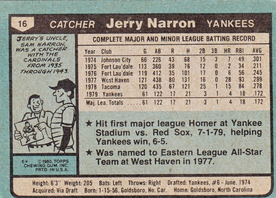 Jerry Narron Rookie Card