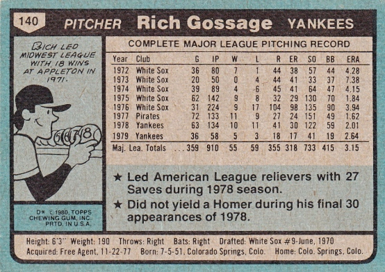 Yankees 1980 Topps Rich Gossage B
