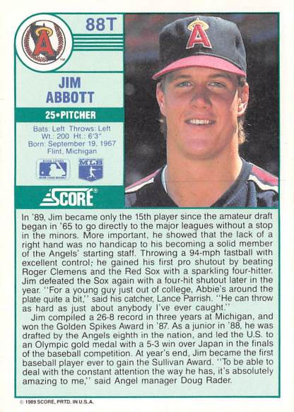 Jim Abbott, Angels, Baseball Card