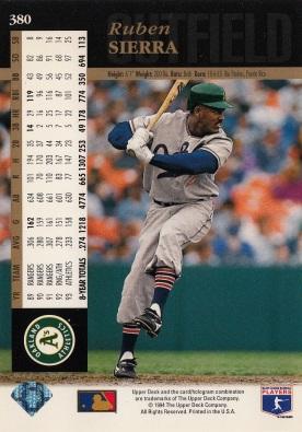 A's 1994 Upper Deck Ruben Sierra B