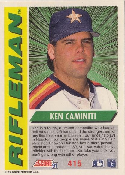 Astros 1991 Score Ken Caminiti RIFLEMAN B