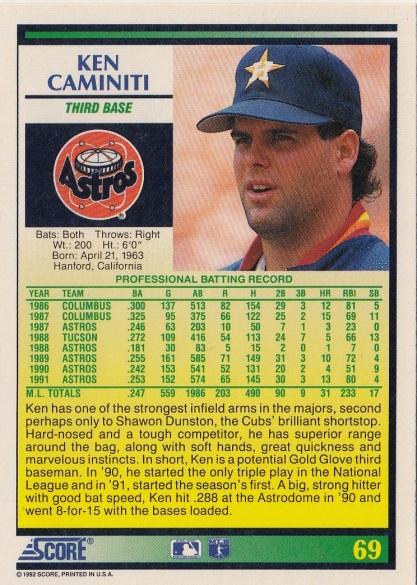 Astros 1992 Score Ken Caminiti B