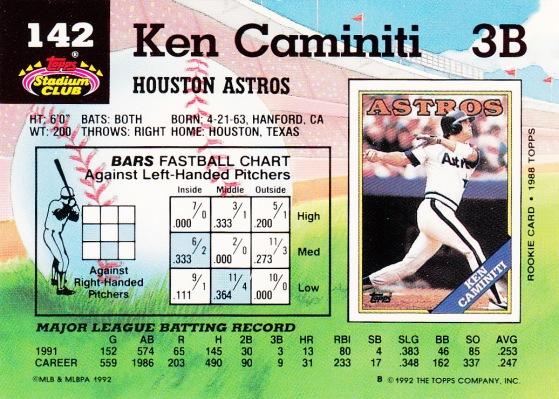 Astros 1992 Stadium Club Ken Caminiti B