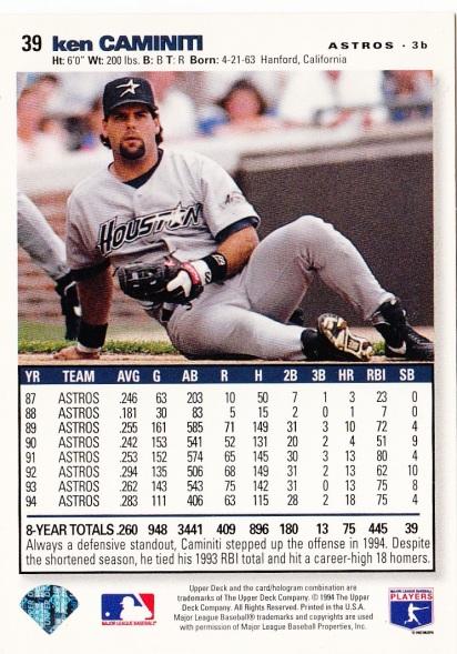Astros 1995 Upper Deck CC Ken Caminiti B