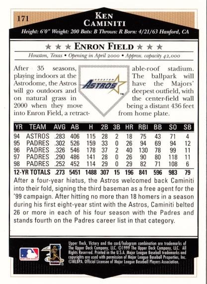 Astros 1999 Upper Deck Victory Ken Caminiti B