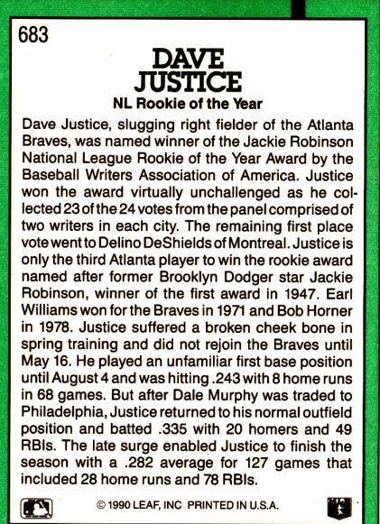 David Justice ROY Card