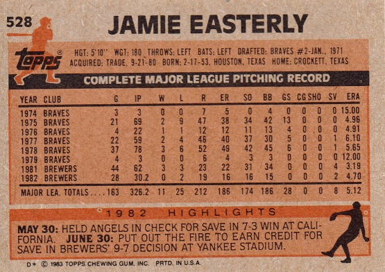 Brewers 1983 Topps Jamie Easterly B
