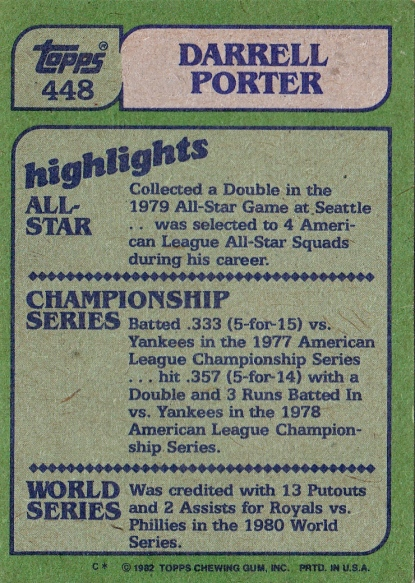 Cards 1982 Topps Darrell Porter Highlights B