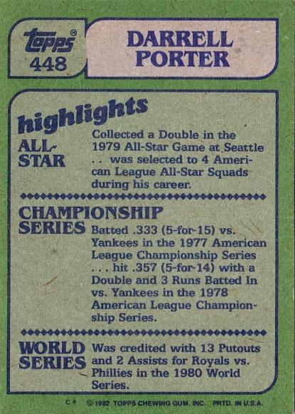 Cards 1982 Topps Darrell Porter Highlights B