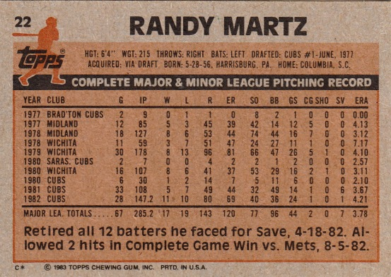 Cubs 1983 Topps Randy Martz B