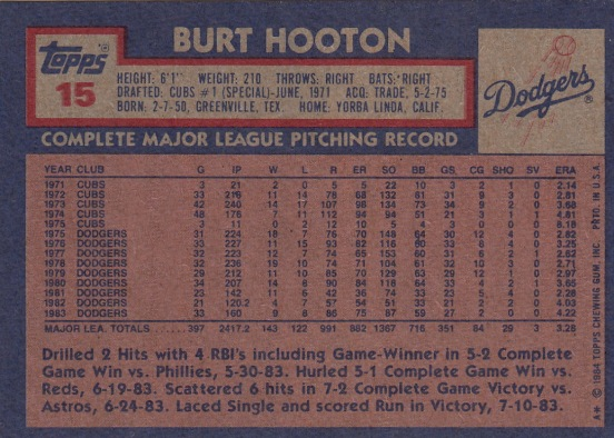 Burt Hooton L.A. Dodgers Baseball Card
