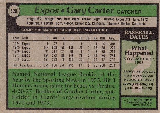Expos 1979 Topps Gary Carter B