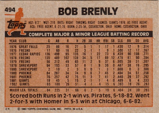 Giants 1983 Topps Bob Brenly B