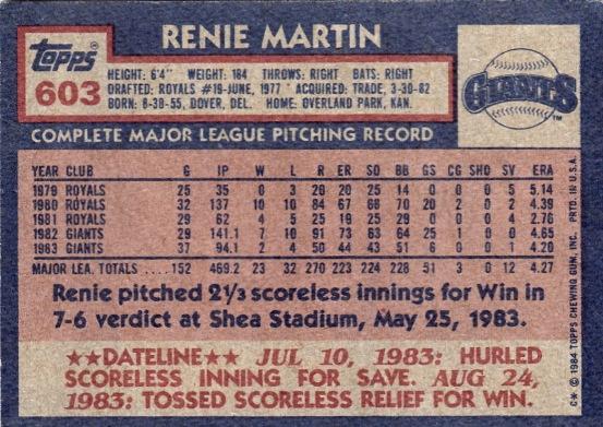 Giants 1984 Topps Renie Martin B
