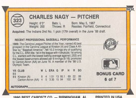 Charles Nagy Minor League Card