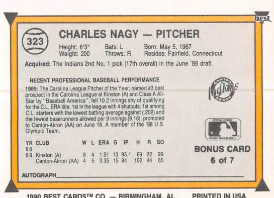Charles Nagy Minor League Card