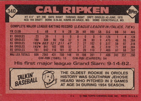 Orioles 1986 Topps Cal Ripken B