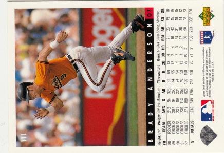 Orioles 1993 Upper Deck Brady Anderson B