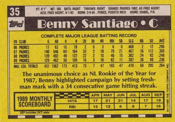 Benito Santiago 1990 Toppps