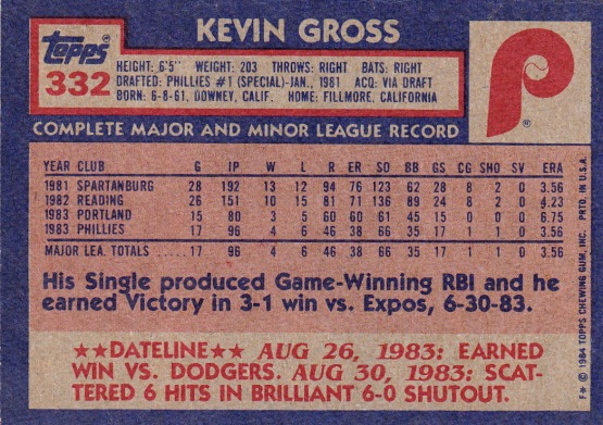 Kevin Gross Rookie Card