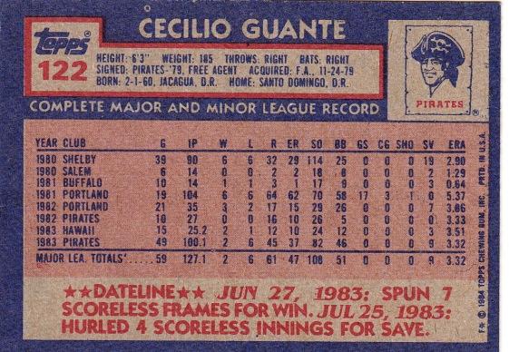 Cecilio Guants 1984 Topps