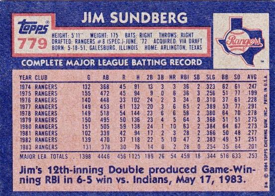 Rangers 1984 Topps Jim Sundberg B